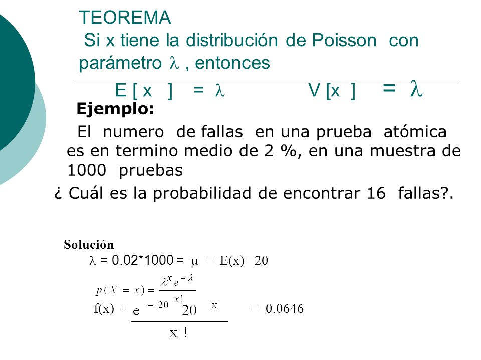 TEOREMA Si x tiene la distribución de Poisson con parámetro  , entonces E [ x ] =  V [x ] = 